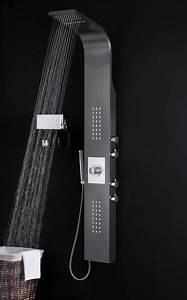 Duschpaneel Mit Thermostat : edelstahl duschpaneel schwarz thermostat mit massagejets ~ Michelbontemps.com Haus und Dekorationen