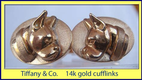 vintage estate tiffany  boxer dog cufflinks gold
