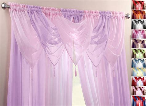 Pink & Lilac Voile Swags & Curtain Panels 9 Peice Set 48