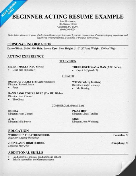 Acting Resume Format by Free Beginner Acting Resume Sle Resumecompanion