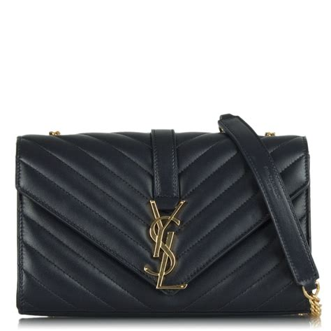 saint laurent navy ysl ripple effect monogram crossbody bag