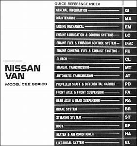 1988 Nissan Van Repair Shop Manual Original