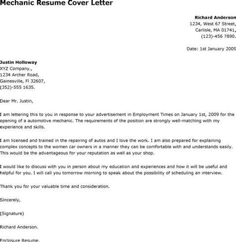 cover letter for maintenance mechanic position 5580