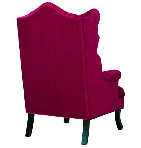 pink velvet wing chair