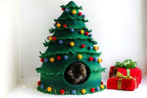handmade christmas tree shaped wool felted cat house
