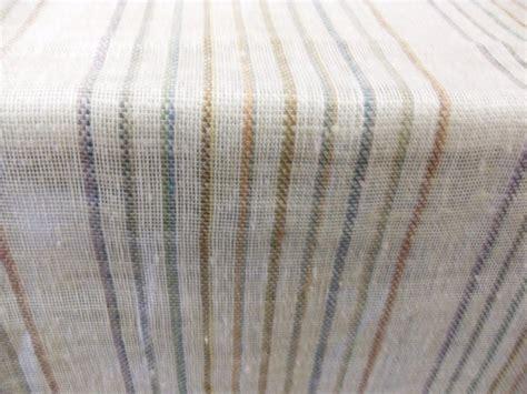 multi color ivory linen stripe open weave drapery fabric