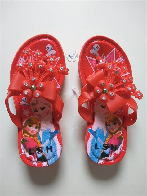 jual sandal jepit karet sendal anak perempuan wanita frozen bunga cantik ringan di lapak