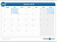 Calendário janeiro 2019