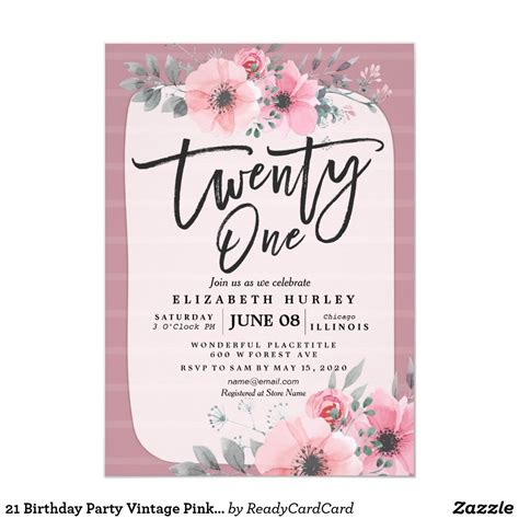 21 Birthday Party Vintage Pink Watercolor Flowers