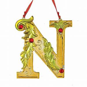 gold letter with green and red holly letter quotnquot ornament With big letter ornaments