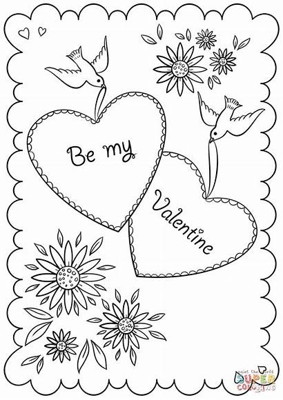 Coloring Pages Card Valentine Valentines Printable St