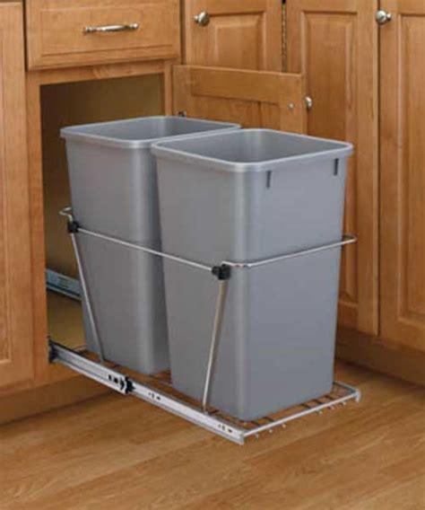 qt silver double bin trash  pull  rev  shelf