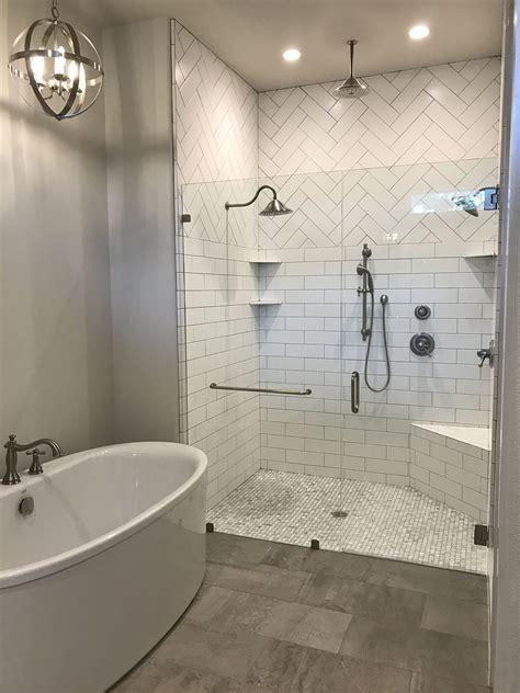 master shower herringbone subway modern farmhouse gray