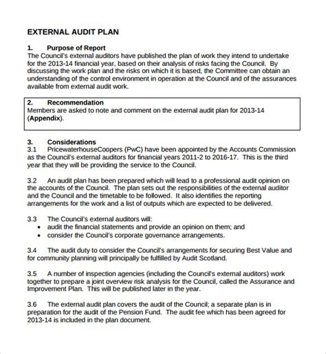 Community Benefit Report Template by 8 Sle Audit Plan Templates Word Pdf Sle Templates