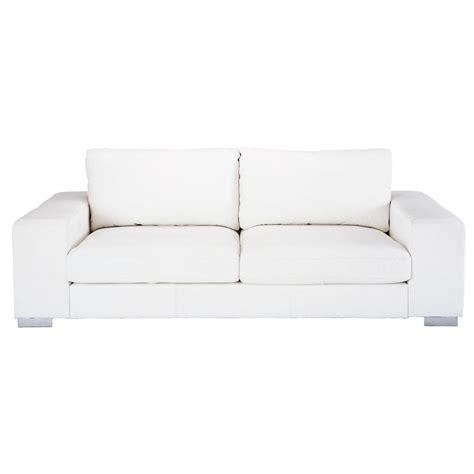 canapé en blanc canapé 3 4 places en cuir blanc york maisons du monde