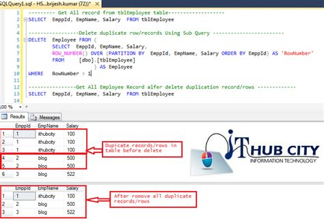 sql query to create table sql server delete remove duplicate record or rows from