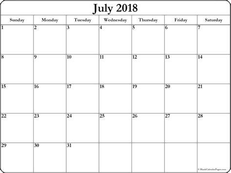 2018 calendar template printable july 2018 free printable blank calendar collection