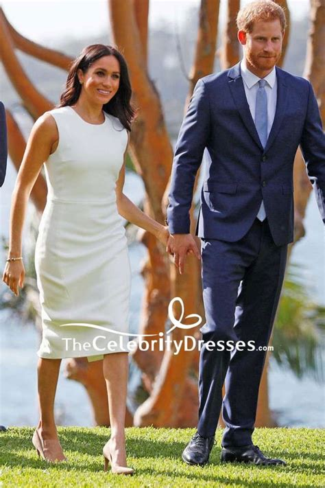 meghan markle white sleeveless midi dress visiting