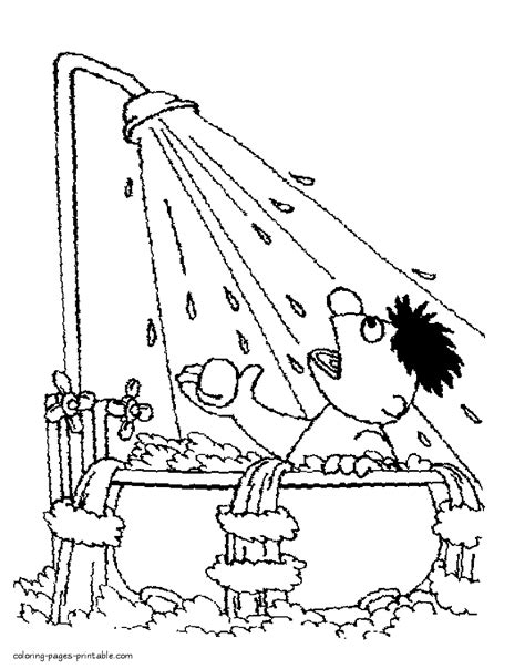 ernie   bath colouring page coloring pages printablecom