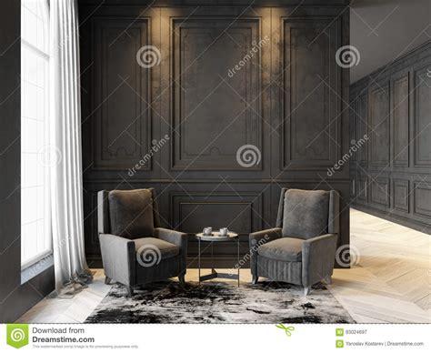 Poltrone E Tavolino Da Salotto Nell'interno Nero Classico