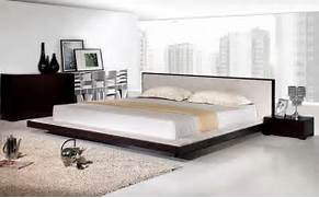Platform Bed Decoration Home Comfy Modern Wenge Platform Queen Bed