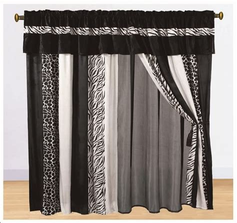 8pc curtain set faux fur zebra animal print classic