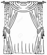 Curtain Curtains Window Drawing Clip Vector Stage Illustration Clipart Coloring Pages Drawings Outside Drawn Sketch Illustrations Getdrawings Depositphotos Cornice Royalty sketch template