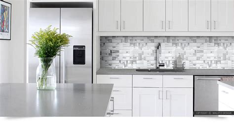 Ideas For Kitchen Countertops And Backsplashes - white glass metal modern backsplash tile for contemporary to modern projects