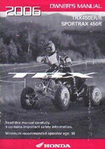 2006 Honda Trx450er R Sportrax 450r Atv Owners Manual