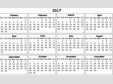 2017 Printable Calendar Pdf » Calendar Template 2018