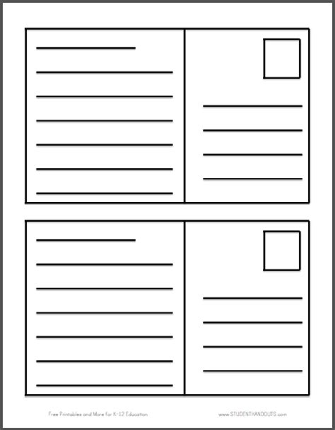 postcard writing template student handouts