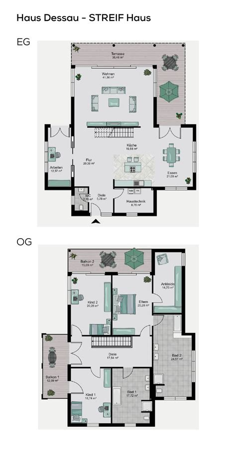 Grundriss Mit Treppe In Der Mitte by Grundrisse Stadtvilla Modern Im Bauhausstil Mit Flachdach