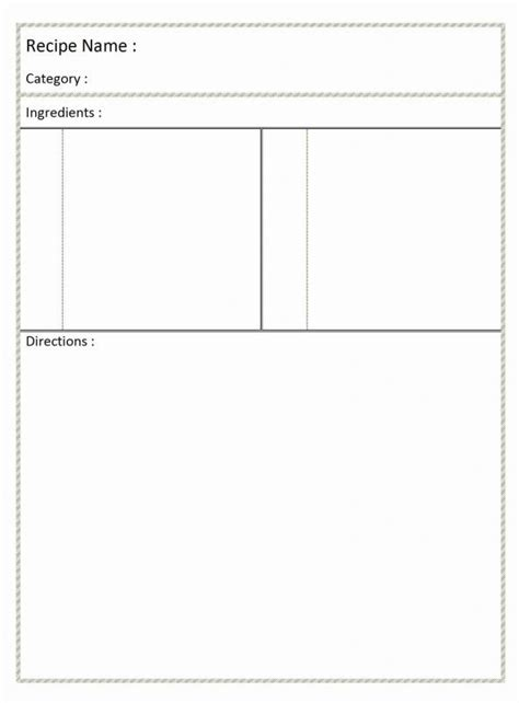 full page recipe template  word shatterlioninfo