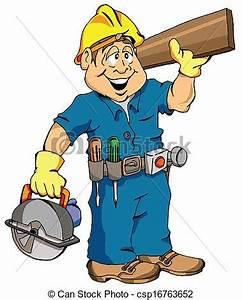 The carpenter Cartoon illustration of a carpenter ready