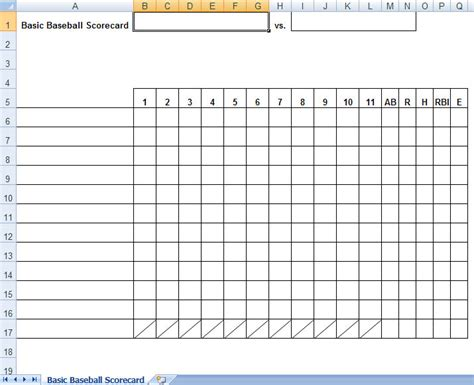 Baseball Lineup Card Template