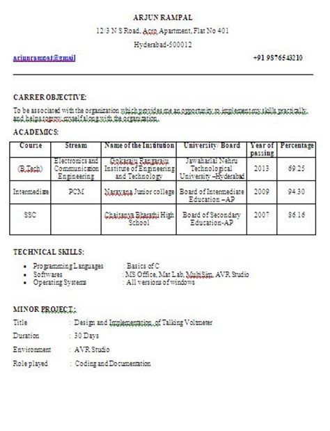 resume format  engineers freshers ece cover letter  hiring manager   write  article