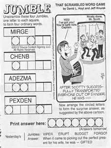 Newspaper Jumble Puzzles