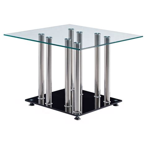 Square Frameless Glass Dining Room Table Base With Four