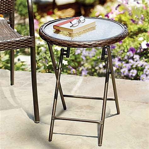 bed bath and beyond side table stratford wicker folding accent table in bronze bed bath
