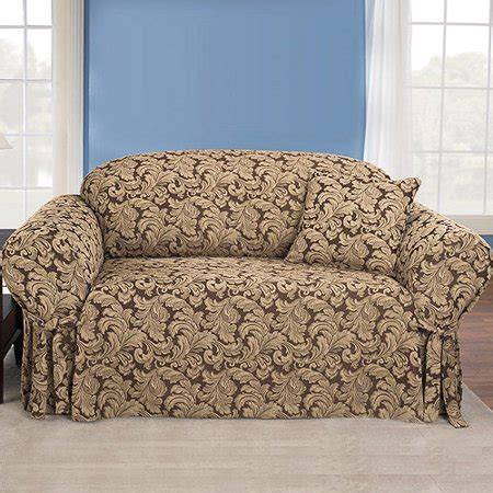 Loveseat Cover Walmart by Sure Fit Scroll Brown Sofa Slipcover Walmart