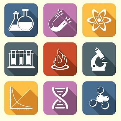 Physics Science Icons Vector Flat Equipment Laboratory