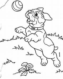A Bulldog Puppy Catching A Ball Coloring Page   Animal ...