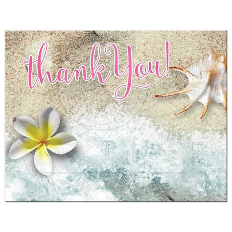 By The Beach Thank You Postcard  Frangipani Seashell