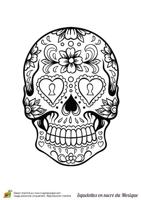 coloriage squelette sucre serrure fleurs sur hugolescargot