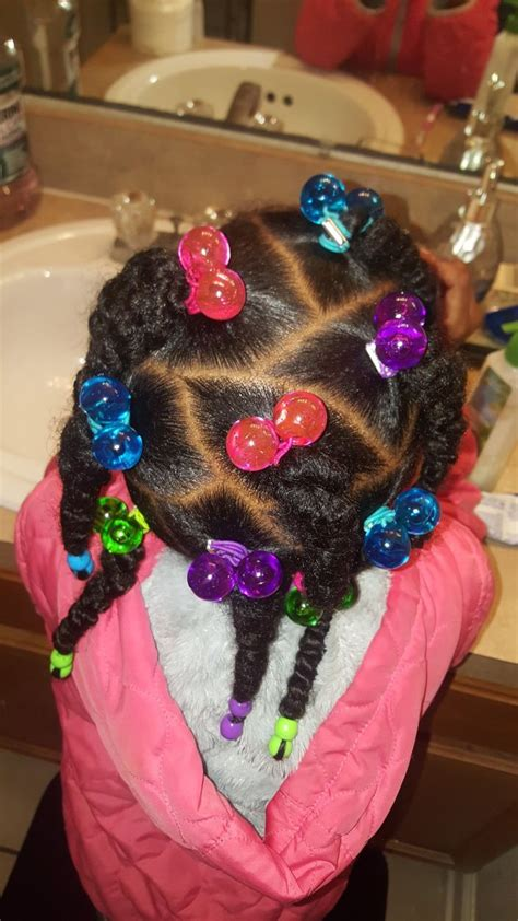 colorful hairstyle   black girls braids beads