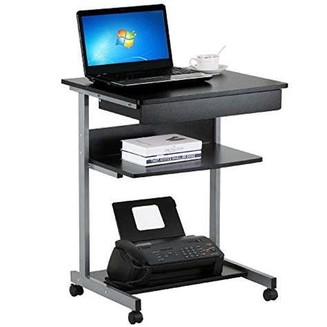 small computer desk with printer shelf topeakmart black wood small laptop computer cart desk with