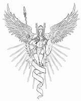 Coloring Valkyrie Tattoo Norse Viking Pages Adult Tattoos Mythology Drawing Angel Line Colour Female Fantasy Mythical Lineart Vikings Freyja Warrior sketch template