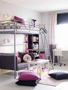 Kleines Sofa Für Jugendzimmer : kleines kinderzimmer einrichten hochbett sofa grau pink weiss farben bedroom in 2019 kleines ~ A.2002-acura-tl-radio.info Haus und Dekorationen