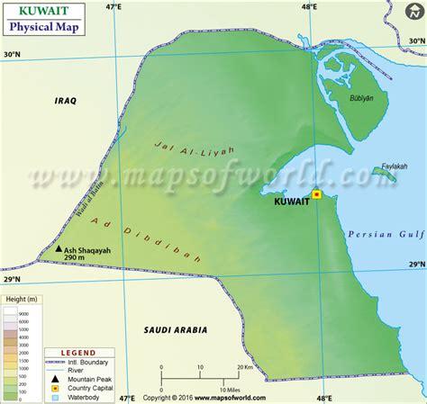 physical map  kuwait