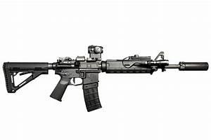 m4 assault rifle carabiner flashlight weapon background HD ...